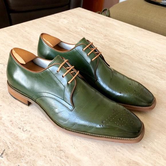 Mens Custom Olive Green Dress Shoes M